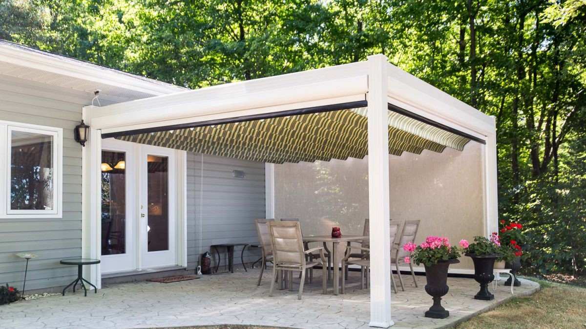 under pergola and side screen